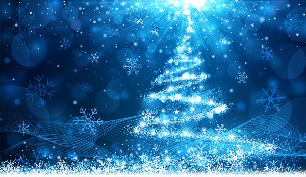 Dream christmas tree with blue xmas background vector 18