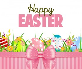 Easter card with beautiful bow vector material 01