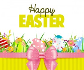 Easter card with beautiful bow vector material 02