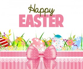 Easter card with beautiful bow vector material 03