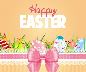 Easter card with beautiful bow vector material 04