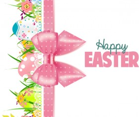 Easter card with beautiful bow vector material 05