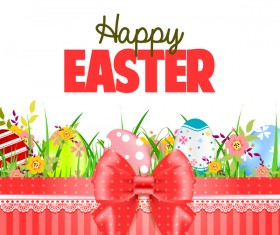 Easter card with beautiful bow vector material 06