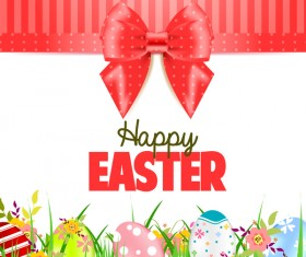 Easter card with beautiful bow vector material 07