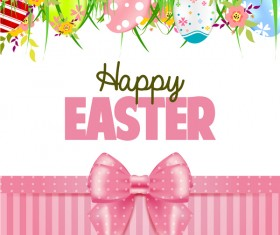 Easter card with beautiful bow vector material 08