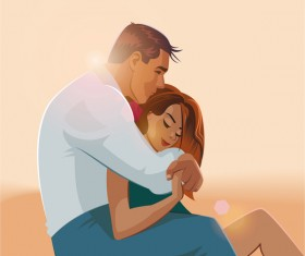 Embraces love couple vector material 08