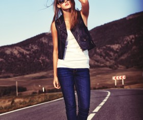 Fashion girl on the highway HD picture