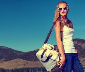 Fashion girl with satchel HD picture