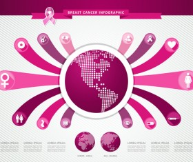Female breast cancer infographic template vector 02
