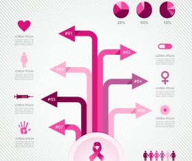 Female breast cancer infographic template vector 03