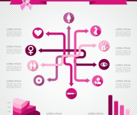 Female breast cancer infographic template vector 05