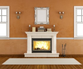 Fireplace with white windows HD picture