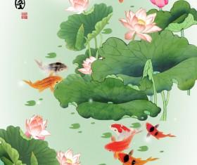 Fish play lotus leaf Stock Photo