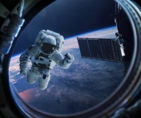 Floating astronauts Stock Photo