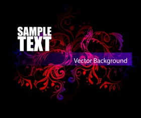 Floral ornaments with dark background vectors 01