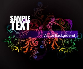 Floral ornaments with dark background vectors 02