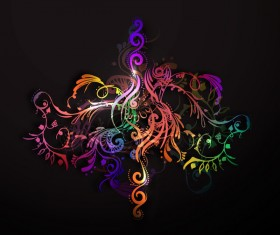 Floral ornaments with dark background vectors 06
