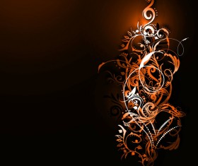 Floral ornaments with dark background vectors 09