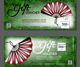 Folding fan with gift vouchers vector 01