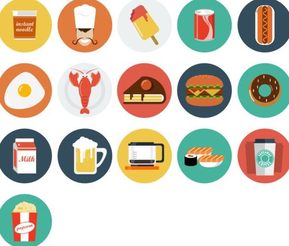 Food and drink vintage icons