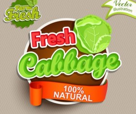 Fresh cabbage labels vector