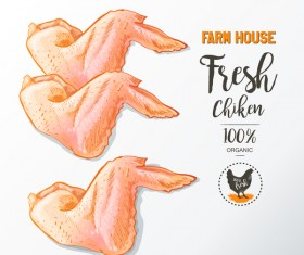 Fresh chicken wings meat poster vector 03