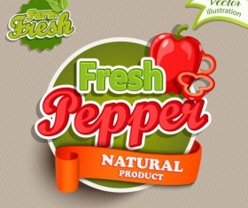 Fresh pepper nature product labels vector 01