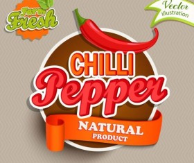 Fresh pepper nature product labels vector 02