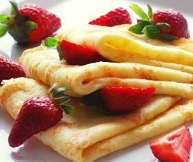 Fresh strawberries and cakes Stock Photo