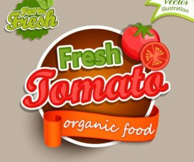 Fresh tomato nature product labels vector