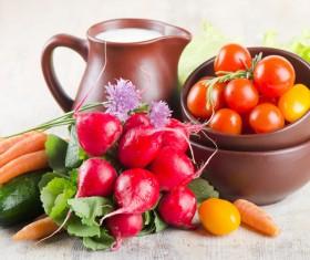 Fresh vegetables with milk Stock Photo