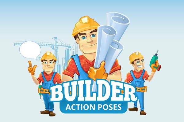 Funny cartoon construction worker vector