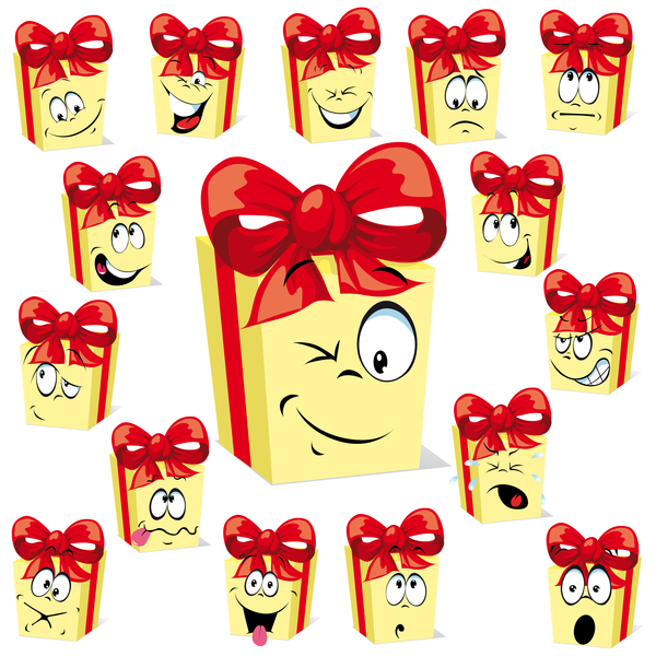 Funny gift boxs face expression icons