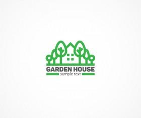 Garden house logo design vector