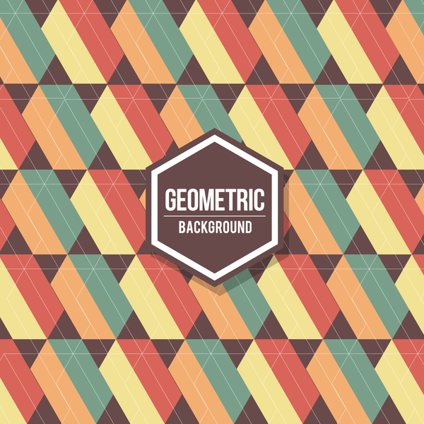 Geometric pattern with retro background vector 03 free download