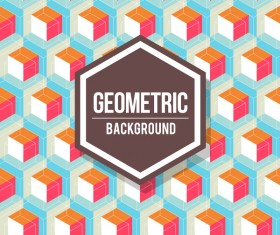 Geometric pattern with retro background vector 11