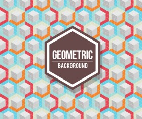 Geometric pattern with retro background vector 14
