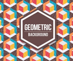 Geometric pattern with retro background vector 17