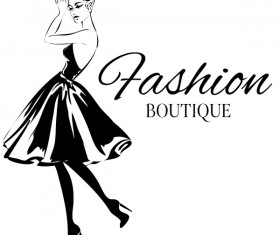 Girl with fashion boutique illustration vector 05