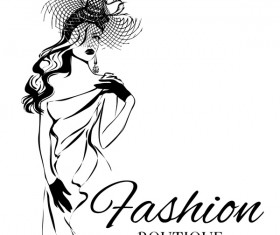 Girl with fashion boutique illustration vector 08