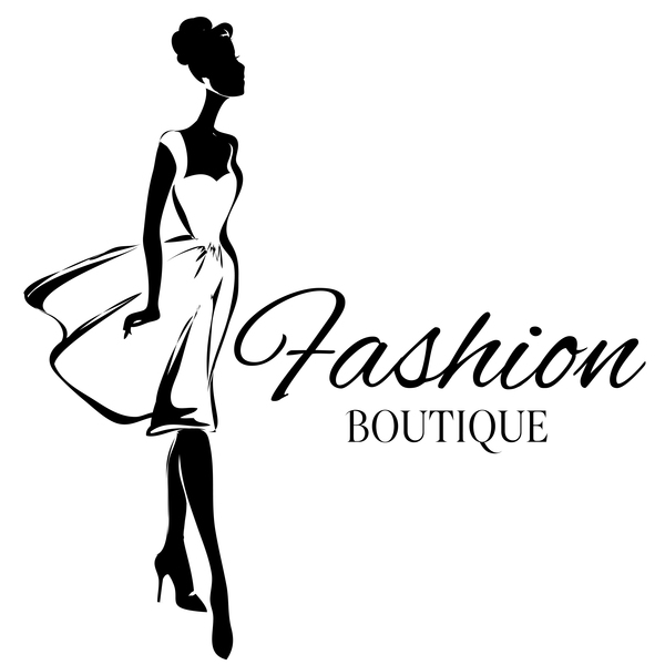 Line Silhouettes In Fashion Design : Girl with fashion boutique illustration vector free