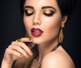 Gold eye shadow and gold nail HD picture