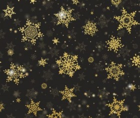 Gold snowflakes seamless pattern with dark backgrounds vector 01