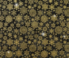 Gold snowflakes seamless pattern with dark backgrounds vector 02