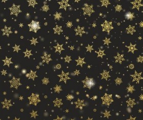 Gold snowflakes seamless pattern with dark backgrounds vector 03