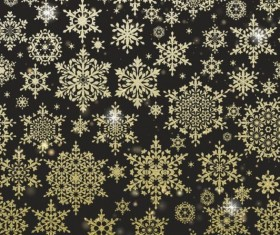 Gold snowflakes seamless pattern with dark backgrounds vector 04