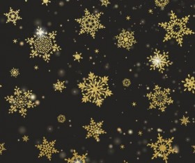 Gold snowflakes seamless pattern with dark backgrounds vector 05