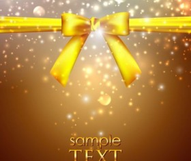 Golden bow with shiny background vectors