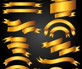 Golden ribbon banners set vector 05