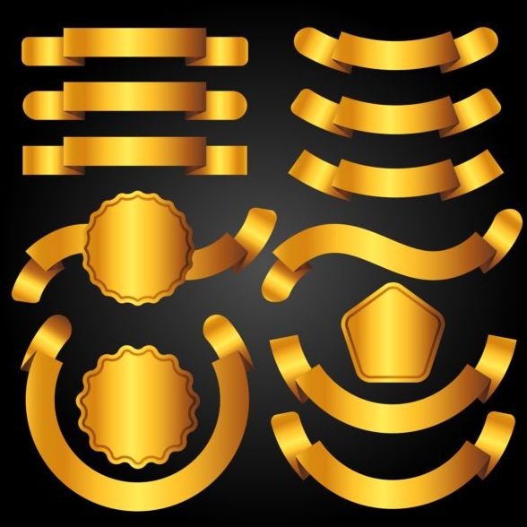 Golden ribbon banners with labels vector 01